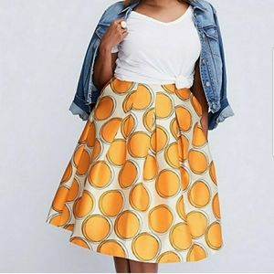NWT Lane Bryant Orange/Yellow Polka Dot Skirt